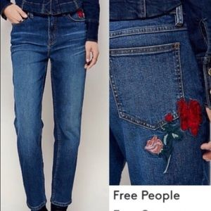 EUC FP🌹Rose Embroidered High Waisted Jeans